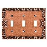 Franklin Messing Klassische Spitze Triple Schalter-/Switch Plate/Cover Dreifachschalter Sponged Copper