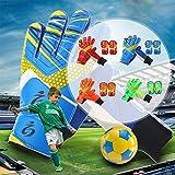Prom-near Children Soccer Goal Keeper Sports bambini/ragazzi Basic Calcio Portiere/giocatori Guanti + gamba protezione S1010, rosso, 5