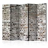 murando Raumteiler Ziegel-Optik Foto Paravent 225x172 cm beidseitig auf Vlies-Leinwand Bedruckt Trennwand Spanische Wand Sichtschutz Raumtrenner grau f-A-0411-z-c