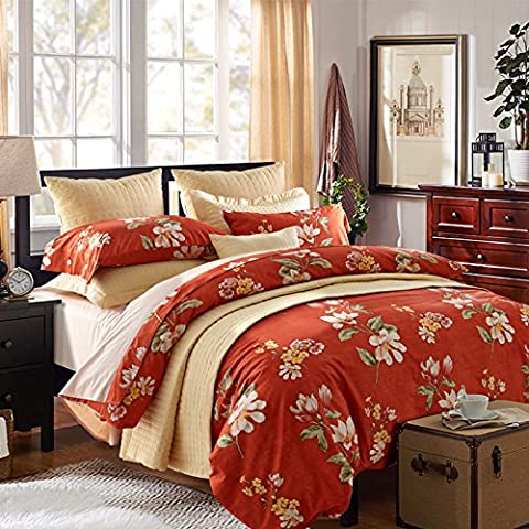 LY&HYL Cotton satin pastoral style button bedding set of 4 quilt Cover , 5 , queen