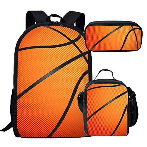 coloranimal Jungen Schule Bleistift Tasche coolen Fußball Muster Kids Stationery Pen Fall Office Supplies 8.66 inch(L) x1.77 inch(W) x4.33 inch(H) baketball pattern Backpack+Lunch Bag+Pencil Case