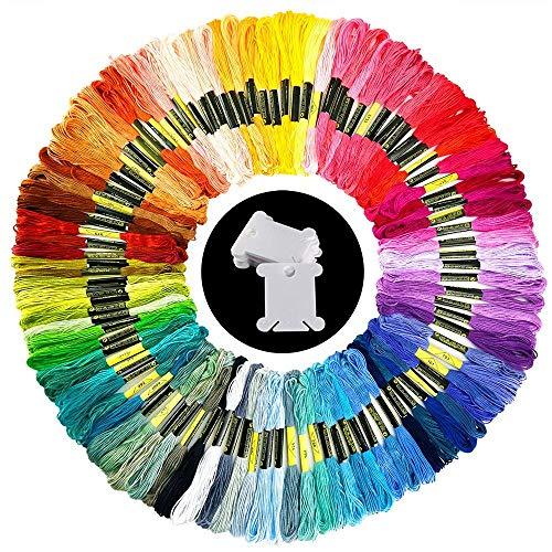 100 madejas hilo de bordar colores al azar hilo de algodón bordado con 15 piezas bobinas de hilo para tejer, proyecto de punto de cruz