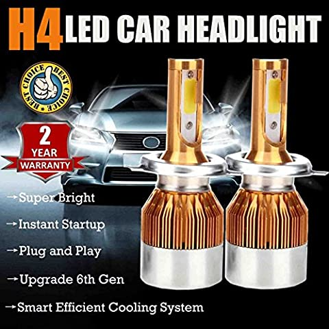 H4/9003/HB2 LED Leuchtmittel Scheinwerfer High und Low Beam Super Hell 7200 Lumen 6000 K Pure White Scheinwerfer Nebel Tagfahrlicht Ersatz Kit – Plug und Play 2 Jahre Garantie