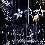 Lichterkette Sternen Lichtervorhang LED Vorhang Lichter Sternenvorhang mit 8 Lichtermodi als Weihnachten oder Party Festen Deko Lichterkette für Innen & Außen (Weiß)