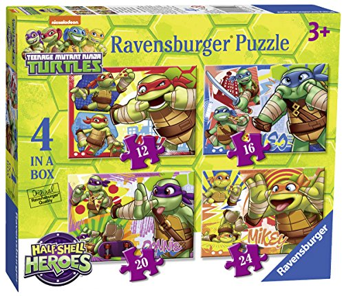 Ravensburger Teenage Mutant Ninja Turtles Halbschale Helden, 4 in einer Box (12, 16, 20, 24-) Puzzle (Blue Turtle Ninja)
