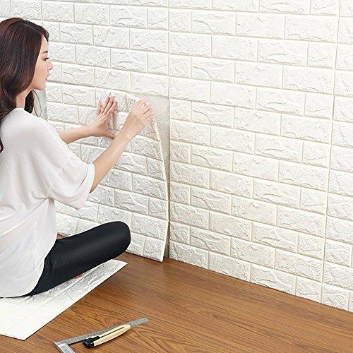 3D Ziegelstein Tapete, YTAT Selbstklebend Brick Muster Tapete, Fototapete~Wandaufkleber für Schlafzimmer Wohnzimmer moderne tv schlafzimmer wohnzimmer dekor , 60 * 60cm, weiß(1)