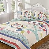 Dreamscene–Juego de ropa de cama con funda de almohada de búho azul/Multi, Azul