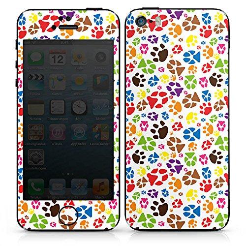 Apple iPhone SE Case Skin Sticker aus Vinyl-Folie Aufkleber Pfoten Bunt Hund Haustiere DesignSkins® glänzend