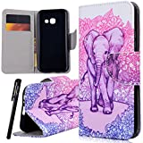 Samsung A3 2017 Wallet Case , WE LOVE CASE Premium Quqlity Leather Cover with Card Holder Kickstand and Magnetic Closure Folio Flip Foldable Book Feature Protective Case for Samsung Galaxy A3 2017 - Elephant Pink