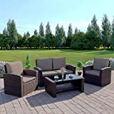 New Algarve Rattan Wicker Weave Garden Furniture Patio Conservatory Sofa Set (Dark Brown with Dark Cushions)