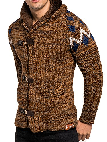 Strickjacke Herren Winter Strick Jacke Strickpullover Pullover Tazzio Longsleeve Clubwear Langarm Shirt Sweatshirt Hemd Pulli Kosmo Japan Style Fit Look Camel