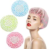 Shower Caps 3 Packs, Waterproof Shower Cap for Women Reusable Shower Hat Bath Caps with Elastic Band, Large Plastic Long…