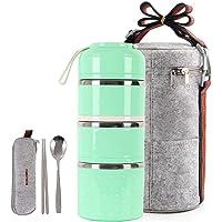 Homespon Lunch Box Boîte Bento Multicouche Empilable Boîte à Repas Hermétique en Acier Inoxydable Boîtes Alimentaires…