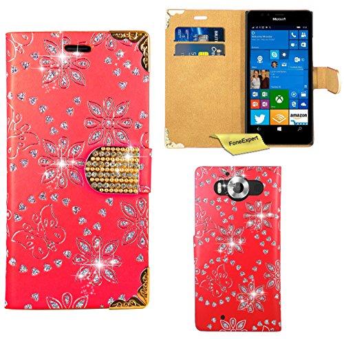 Preisvergleich Produktbild Microsoft Lumia 950 Handy Tasche, FoneExpert® Bling Luxus Diamant Hülle Wallet Case Cover Hüllen Etui Ledertasche Premium Lederhülle Schutzhülle für Microsoft Lumia 950 (Rot)