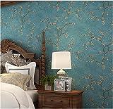 Yosot Retro American Blume Vlies Tapete Schlafzimmer Wohnzimmer Sofa Tv Hintergrund Tapete Blau