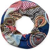 styleBREAKER Feinstrick Loop Schlauchschal mit Ethno Punkte African Style Muster, Schal, Damen 01017042, Farbe:Rot-Blau