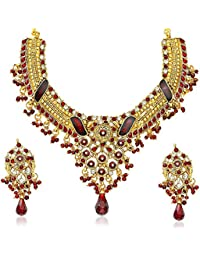 Xcite Alloy Maroon & White Stone Tradditional Necklace Set For Women XNS102