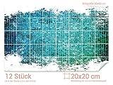 GRAZDesign Fliesentattoo Küche Mosaik Steine - Fliesenaufkleber Bad türkis - Fliesenspiegel selbstklebend glänzende Folie - Fliesenaufkleber Küche / 20x20cm (BxH) / 766108_20x20_60