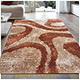 #8: TAUHID CARPET Super Soft Sahgy Collection Indoor Modern Shag Area Silky Smooth Rugs Fluffy Rugs Anti-Skid Shaggy Area Rug For Dining Room Home Bedroom Carpet 5x7 Feet Beige & Rust.