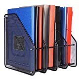 Metal mesh Magazine file Folder Holder rack file Frame divisori DIY documenti supporto di riempimento Shelf desktop organizer Storage box per ufficio scuola Hollow 4 scomparti Nero