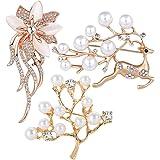 SUNSK Brosche Gold Damen Perle Broschen Anstecknadeln Bouquet Broschen Kleidung Schmucknadel Hochzeiten Weihnachten Partys Sc