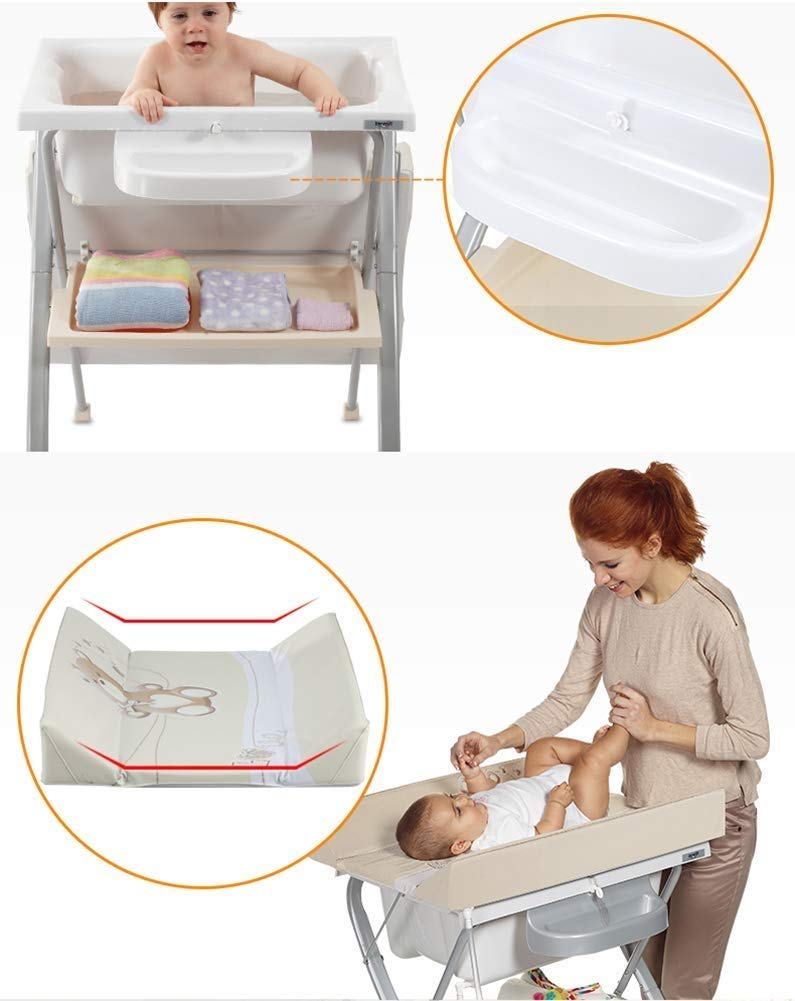 Changing Table Baby Changing Table Portable Folding Diaper Station Nursery Organizer for Infant Save Space Cross Leg Style (Color : White) Changing Table ●Size and Safe and Stable- L74 x W48 x H100cm,Suitable for babies weighing less than 25kg,With seat belt,Changing pad has a restraining strap for added safety and is made of easy to clean, soft ●2-in-1 design- Baby changing table can be used as baby massaging table as well. It is designed at the proper height of parent to prevent mom's back aches and pains from kneeling or bending when changing diapers to babies. ●Premium materials - Using high-quality materials for our 2 in 1 infant changing table,Reinforced metal,it is durable and stable for long time daily use,And easy to clean and maintain. 6