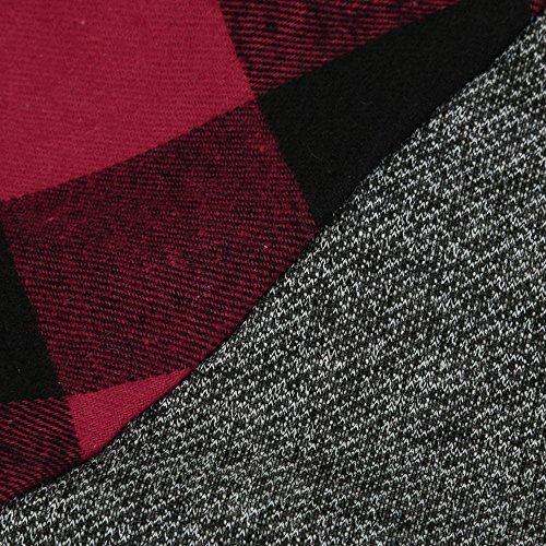 Sunenjoy Femmes Col Roulé Tops Plaid Manches Chic Chemises Tunique À Manches Longues Pull Printemps Été Casual Sweatshirt Rouge
