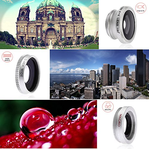 MEMTEQ® Universal 5 in 1 Cell Phone Camera Lens Kit Clip-On FishEye Lens + 2 in 1 Macro Lens + Wide Angle Lens + Teleconverter + CPL Filter Universal Clip Phone Camera Lens for Android/ iOS Smartphone, iPhone 7, 6, 6 plus, 5, 5C, 5S, 4, 4s (Silver)