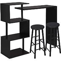 WOLTU 1 X Table de Bar Rotatif avec 3 tablettes + 2 X Tabourets de Bar Structure en métal Plateau en MDF,Noir BT27sz…