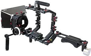 Filmcity Shoulder Support Rig kit Matte Box Camera Cage Hard Stop Follow Focus for DV DSLR HDV Nikon Sony Panasonic Canon Video Film Movie Shoot (FC-03)