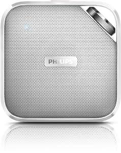 Philips BT2500WT Enceinte Portable sans Fil Bluetooth avec Micro Intégré, Entrée Audio, Filtre Anti Distorsion, Blanc