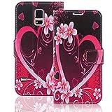 Numerva Samsung Galaxy S6 Hülle, Schutzhülle [Design Bookstyle Handytasche Motiv] PU Leder Tasche für Samsung Galaxy S6 G920 Wallet Case [QJC-111 Herz]