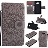 For Samsung Galaxy A3 2016 Case [Gray],Cozy Hut [Wallet Case] Magnetic Flip Book Style Cover Case ,High Quality Classic New design Sunflower Pattern Design Premium PU Leather Folding Wallet Case With [Lanyard Strap] and [Credit Card Slots] Stand Function Folio Protective Holder Perfect Fit For Samsung Galaxy A3 (2016) SM- A310F 4.7 inch - gray