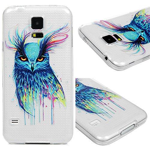 für Samsung Galaxy S5 9600 Hülle Silikon Case Ultra Dünn Handyhülle Schutzhülle Transparent Handyschale Handytasche Malen Tasche TPU Durchsichtige Schale Soft Etui Farbige Eule