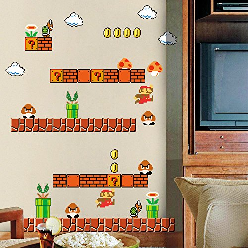 Home Evolution Giant Super Mario Build a Scene Peel and Stick Wall Decals Stickers for Kids Boys Nursery Wall Art Room Decor by Home Evolution