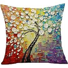 Elviros Pittura ad olio Cotone Misto Lino Decorativo Fodera per Cuscino 45x45cm [18x18'' pollici] - Fiori e alberi