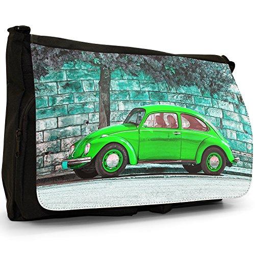 Old Classic, a forma di Maggiolino, colore: nero, Borsa Messenger-Borsa a tracolla in tela, borsa per Laptop, scuola Old Classic Green Beetle Car