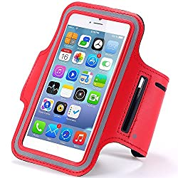 RiaTech® Red Sports Gym Jogging Armband Compatible for all smart phones size 5.7 inches