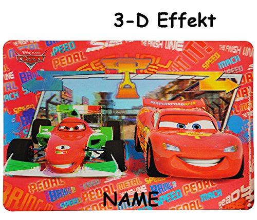 Disney Cars Lightning McQueen  - 3-D Unterlage - 43 cm * 30 cm incl. Name - Tischunterlage / Platzdeckchen / Malunterlage / Knetunterlage / Eßunterlage - A..