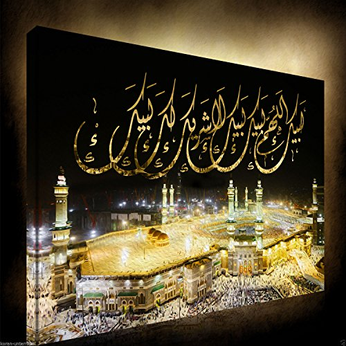 Halal-Wear Islamische Leinwandbilder Mekka Kaaba 60 x 40 cm Masjid Alharam Wanddekoration Leinwand auf Holzkeilrahmen