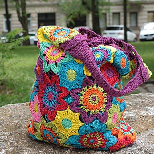 MyOma Tasche Selber häkeln und Stricken! Häkelset Sommertasche mit Baumwolle und Häkelanleitung INKL. Nadeln - Strickset mit Anleitung und Wolle - Häkelpackung Zum Tasche Selbst häkeln
