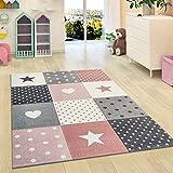 Kinderzimmer Teppich Sterne Kinder Mädchen Schlafzimmer Teppich Rosa Grau Soft Play Matte