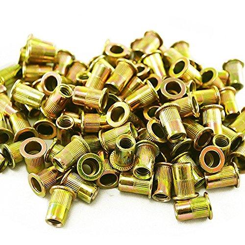 OxoxO 100pcs Zinc Plated Carbon Steel Rivet Nut Insert Flat Head Threaded Nuts 1/4-20UNC