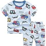 Pijamas de Dos Piezas de Manga Corta para Niños, Morbuy Conjunto de Pijamas de 100% Algodón Verano Bebé Infantil Coche Carica
