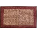 JVL Madras Latex Backed Entrance Door Mat, Plastic, Beige/Red, 50 x 80 cm