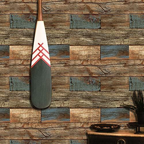 Brown Faux Textur Wallpaper (Holz-Tapetenrolle, Kunst-Holz-Plank-Tapete, Wandbild für Zuhause, Küche, Schlafzimmer, Wohnzimmer, Dekoration, 52,1 x 79,7 m Distressed Faux Wood art Wallpaper 8 Brown/Blue)