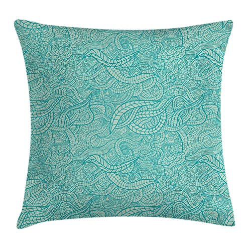 Aqua Throw Pillow Cushion Cover, Vintage Botanic Nature Leaves Veins Swirls Ivy Mosaic Inspired Image Print, Decorative Square Accent Pillow Case, 18 X 18 Inches, Turquoise and White