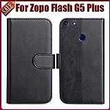 PREVOA Flip PU Funda Case Protictive para Zopo Flash G5 Plus 5,5 Pulgada Smartphone - Negro -
