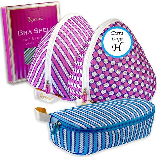 Queensell BH Shell Extra Big Bra Wash Bag 3 Set, Size H Violet Dotted,Violet Striped (VD&Vs) Striped Set