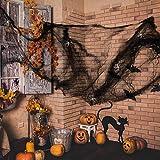 Anear Schwarz Spinnweben Halloween Spinnennetz Accessoires Party Deko mit 25 Stück Weiß Spinnen